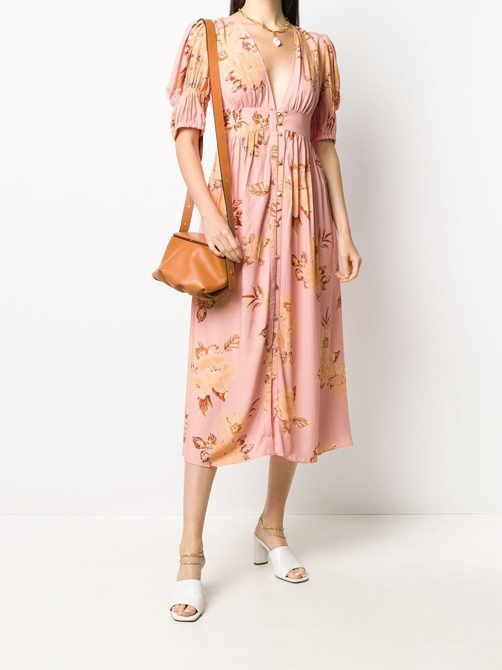 KEEPSAKE THE LABEL Floral Print Deep V-neck Dress