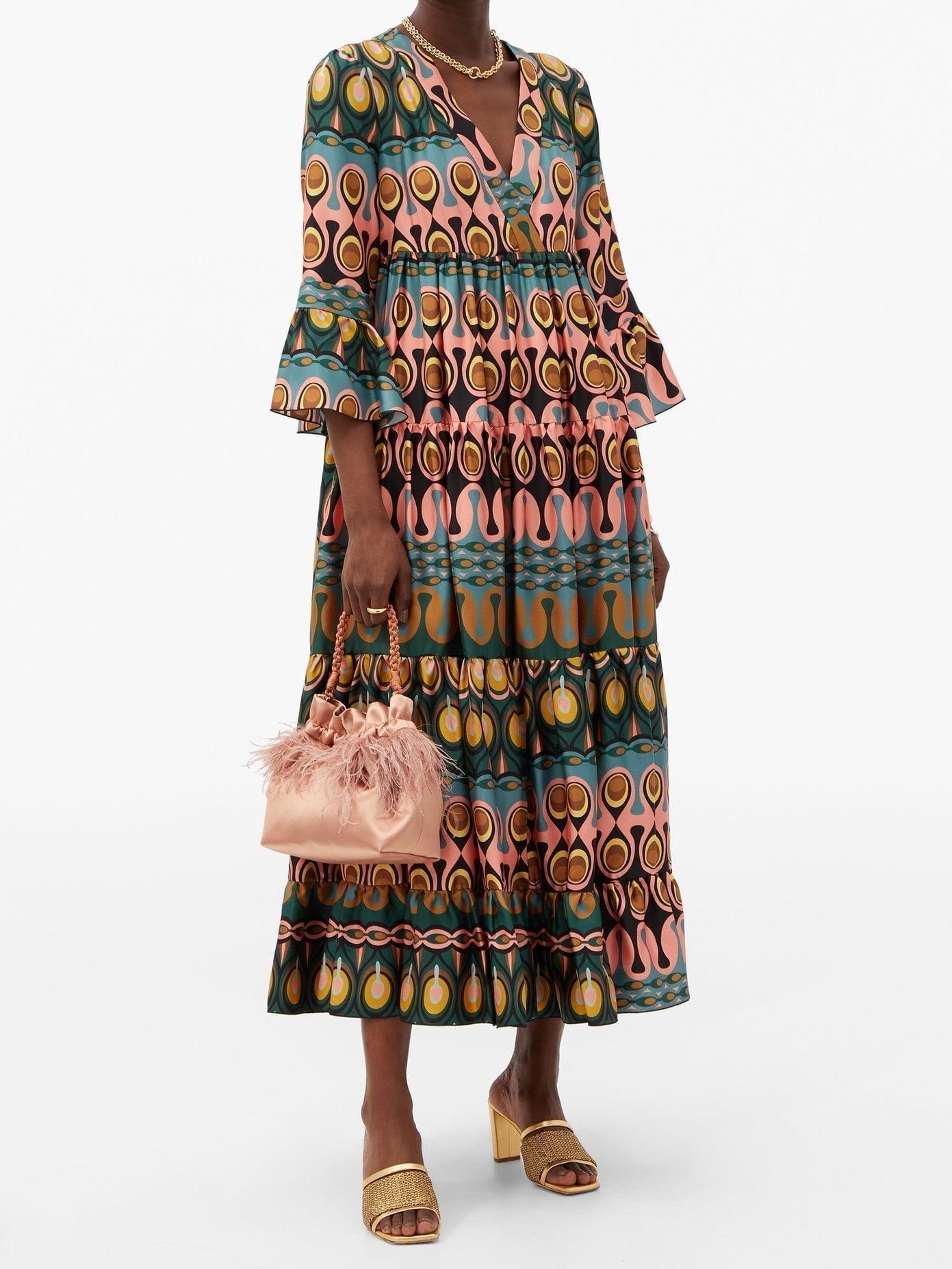 LA DOUBLEJ Jennifer Jane Abstract-Print Silk Midi Dress