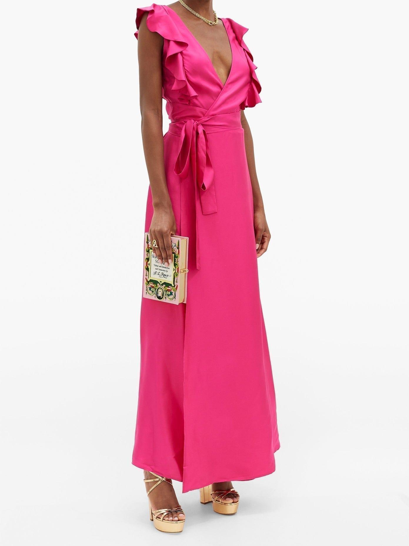 LA DOUBLEJ Wedding Guest Ruffled Silk-twill Dress