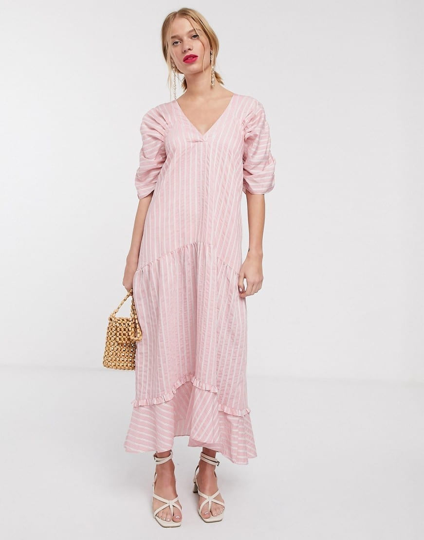 LOST INK Tiered Skirt Maxi Smock Dress