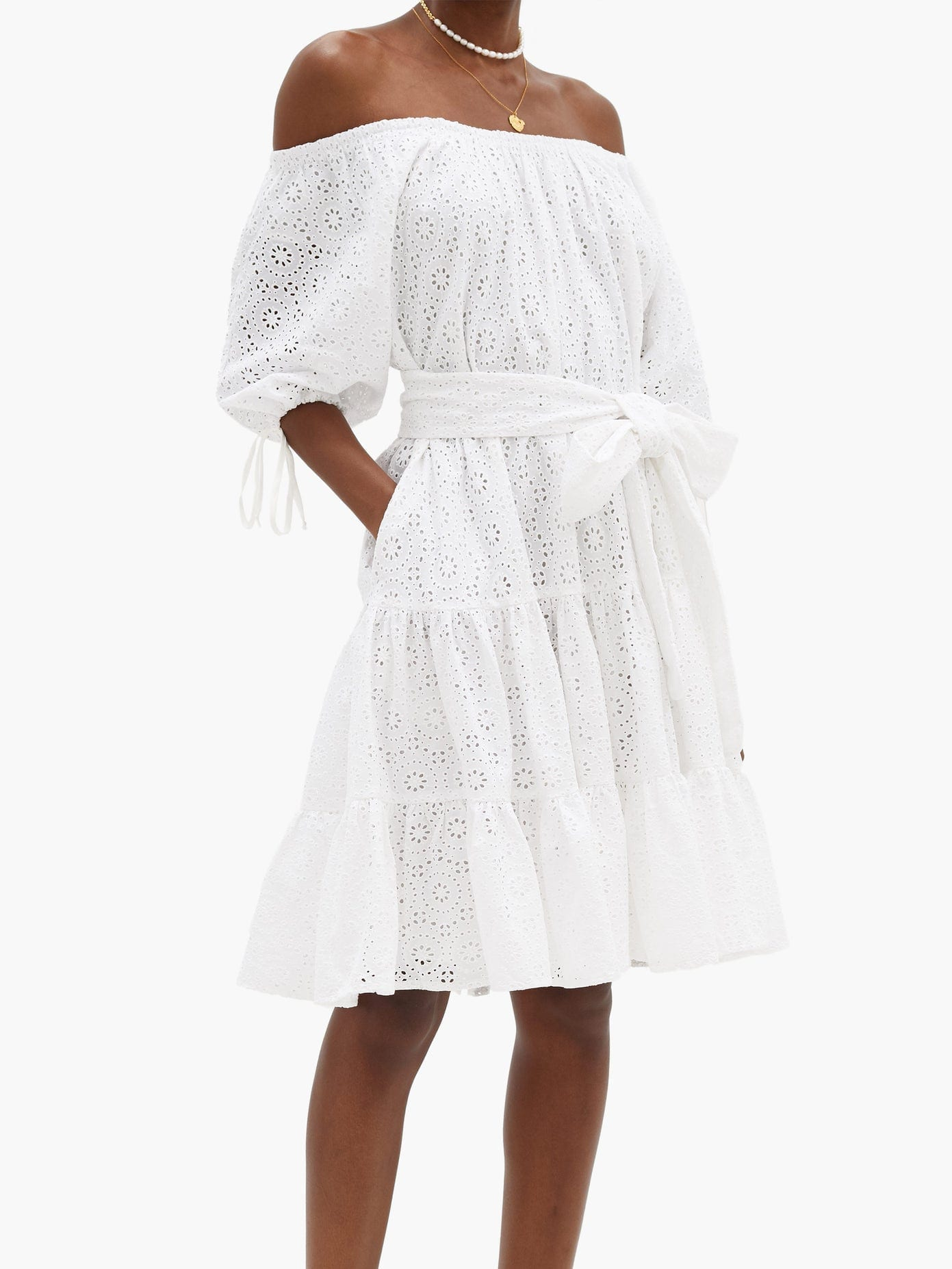 LOUP CHARMANT Vera Off-the-shoulder Embroidered Cotton Dress