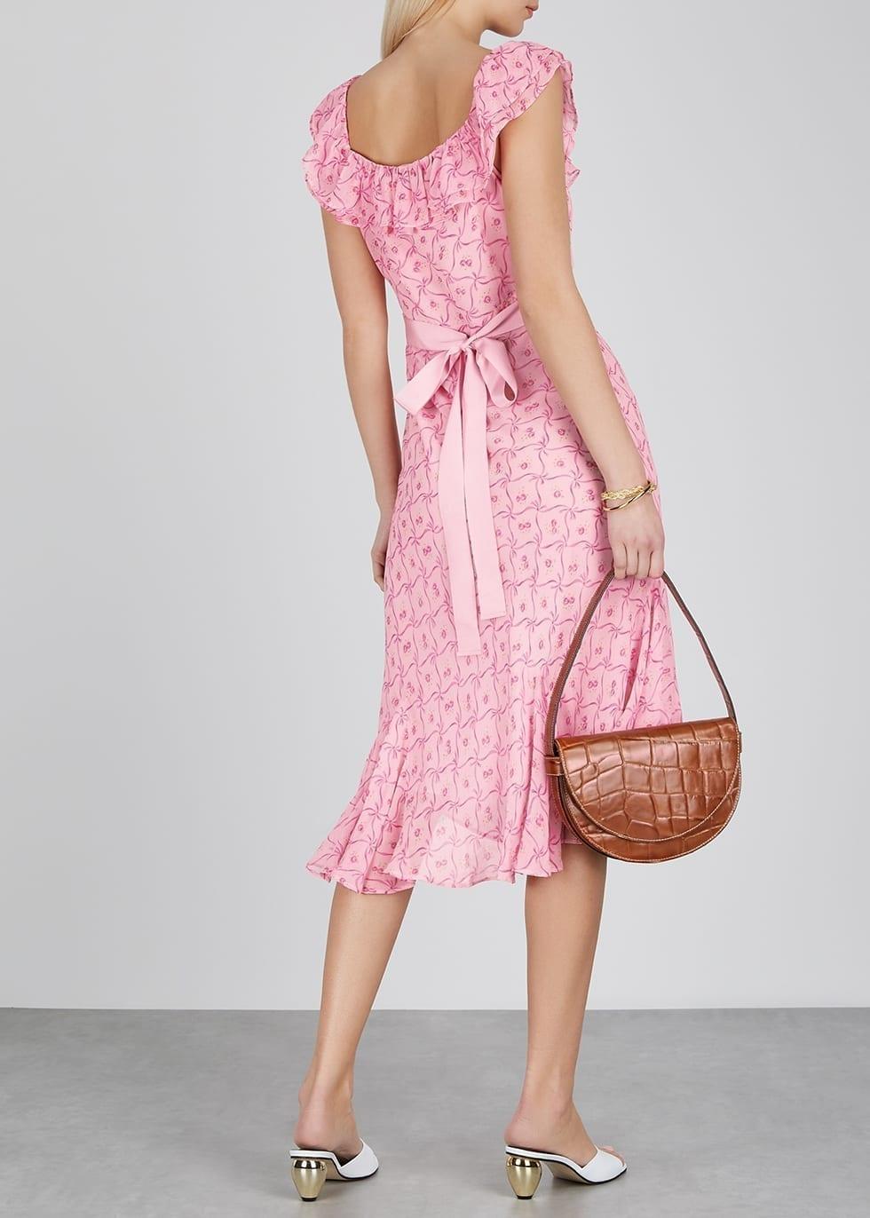 LOVESHACKFANCY Faith Floral-print Silk-chiffon Dress