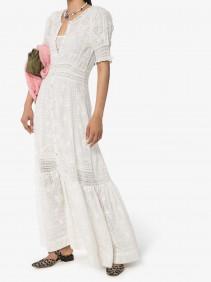 LOVESHACKFANCY Minka Embroidered Cotton Maxi Dress