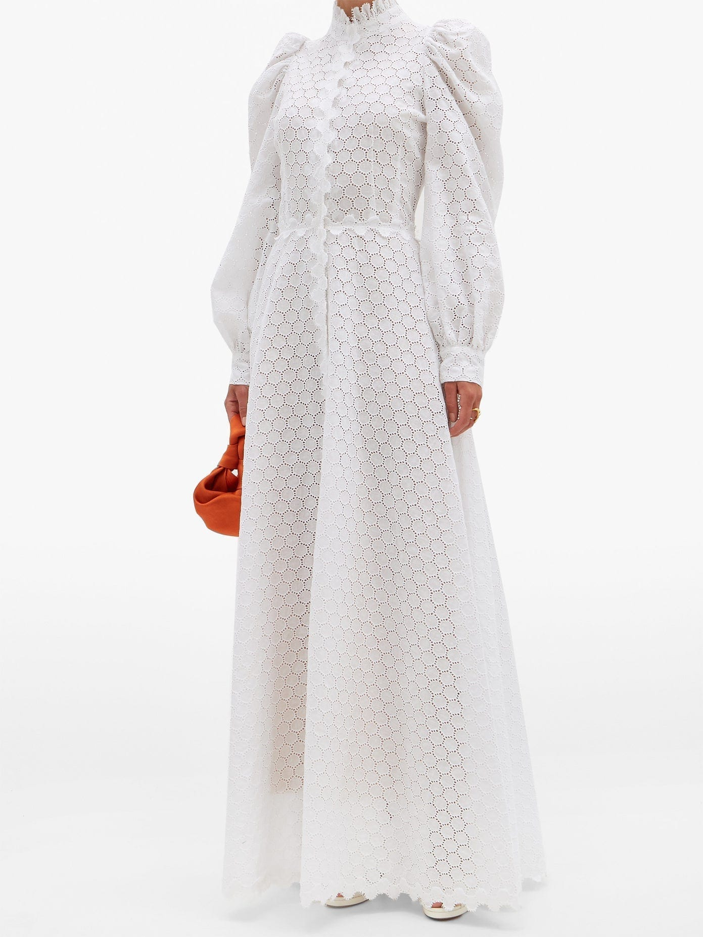 LUISA BECCARIA High-neck Linen-Blend Broderie Anglaise Gown