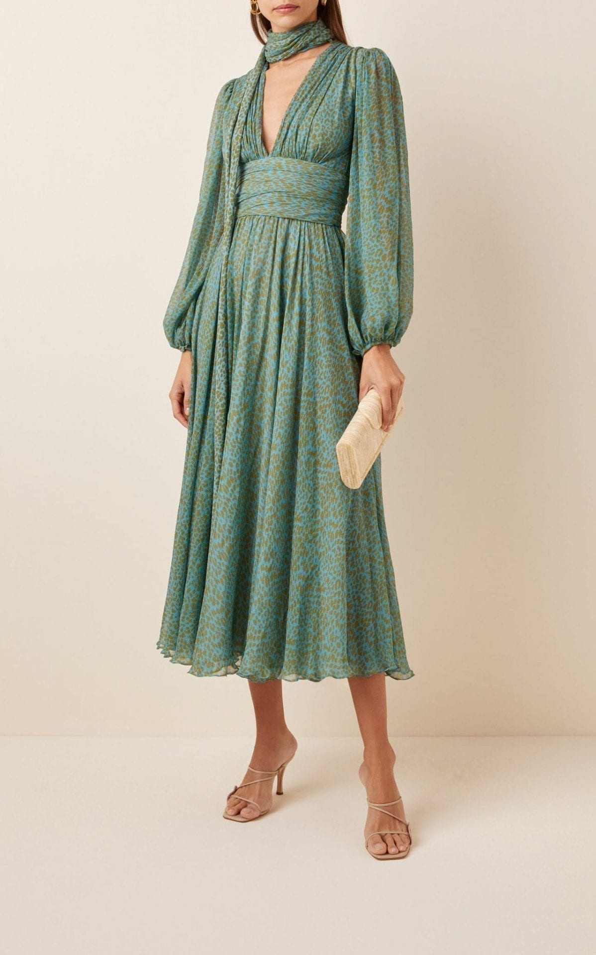 LUISA BECCARIA Printed Silk Chiffon Tie-Neck Midi Dress