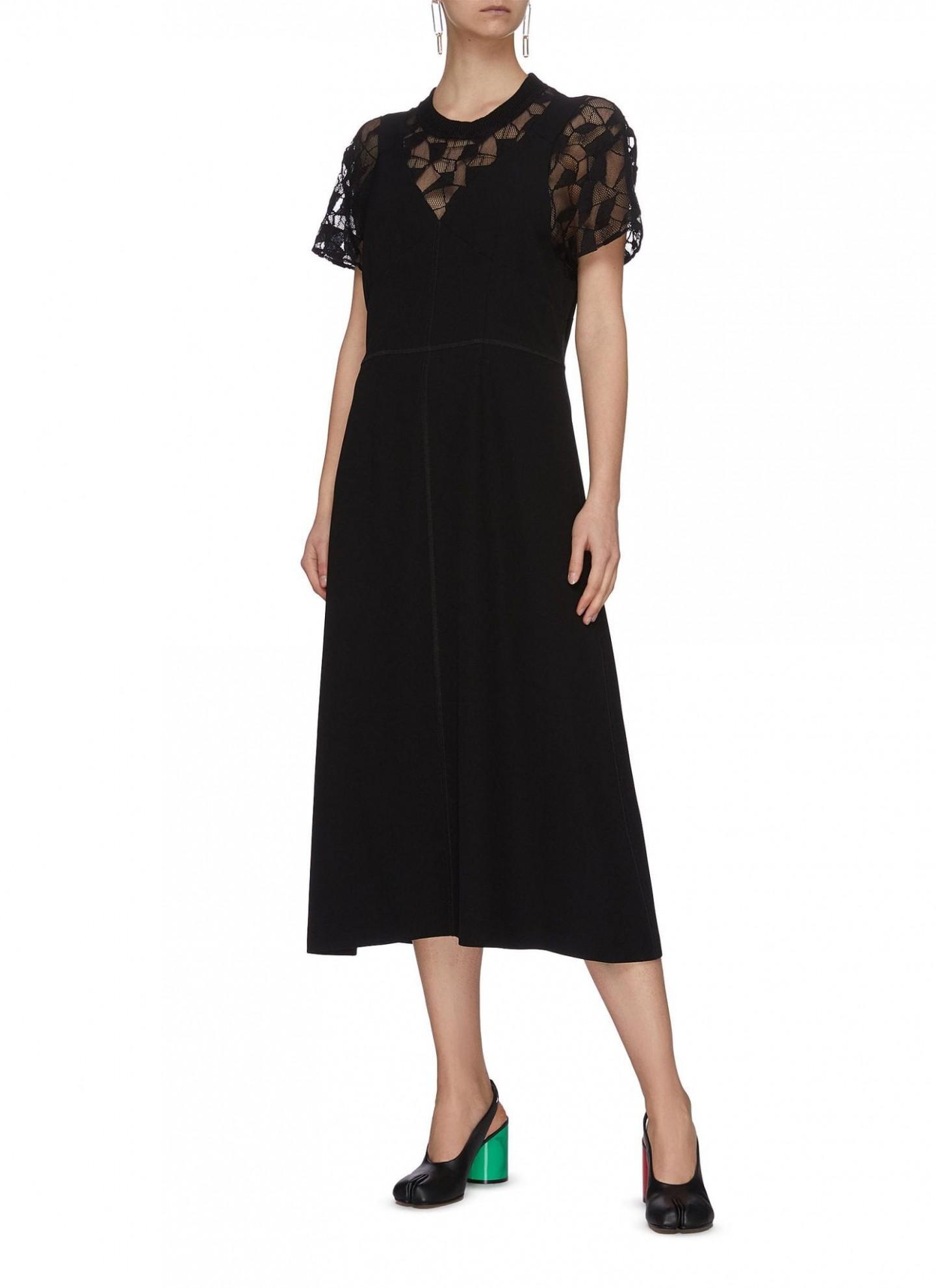 MAISON MARGIELA Lace Underlay Satin Crepe Midi Dress