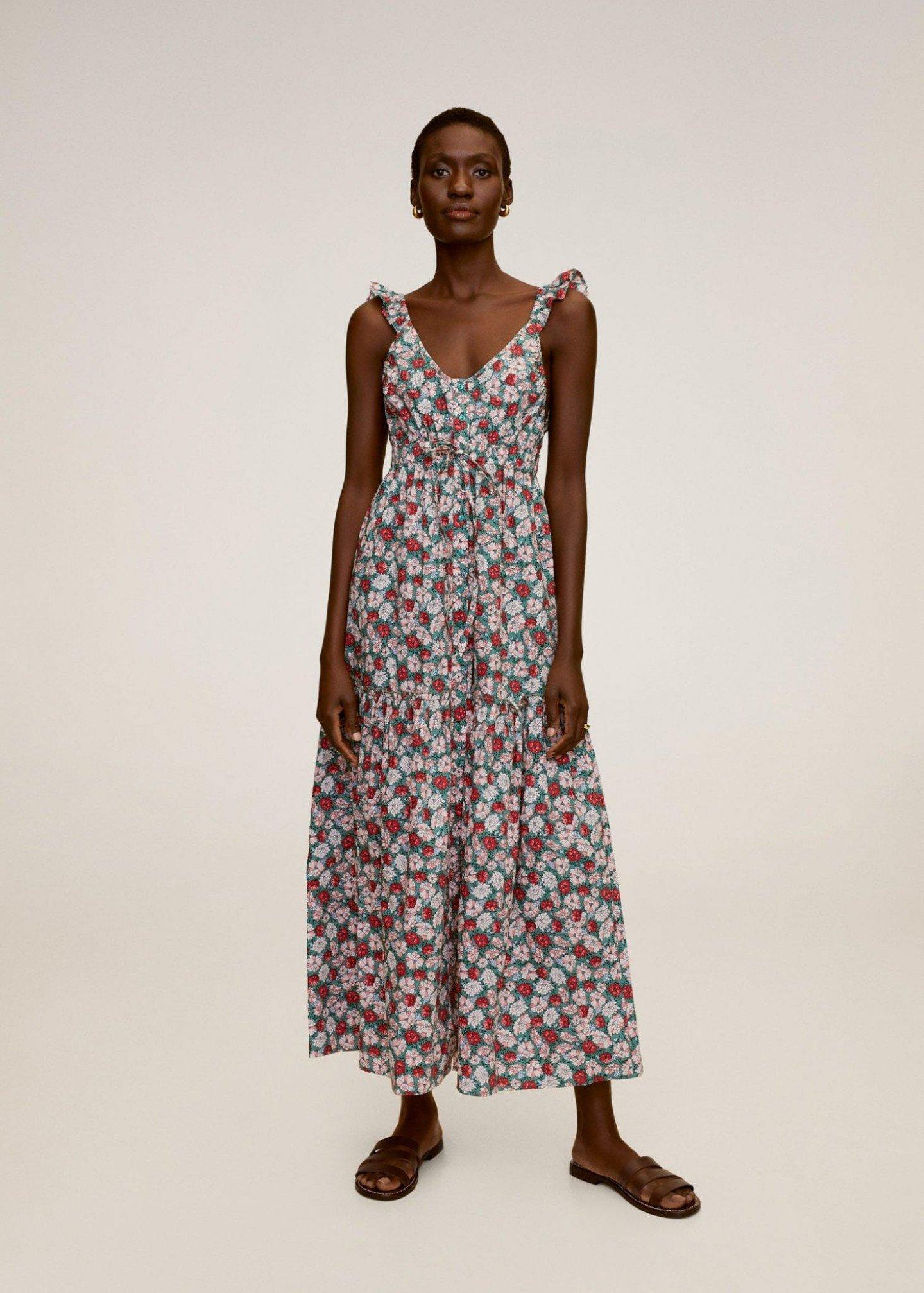 MANGO Floral Print Long Dress