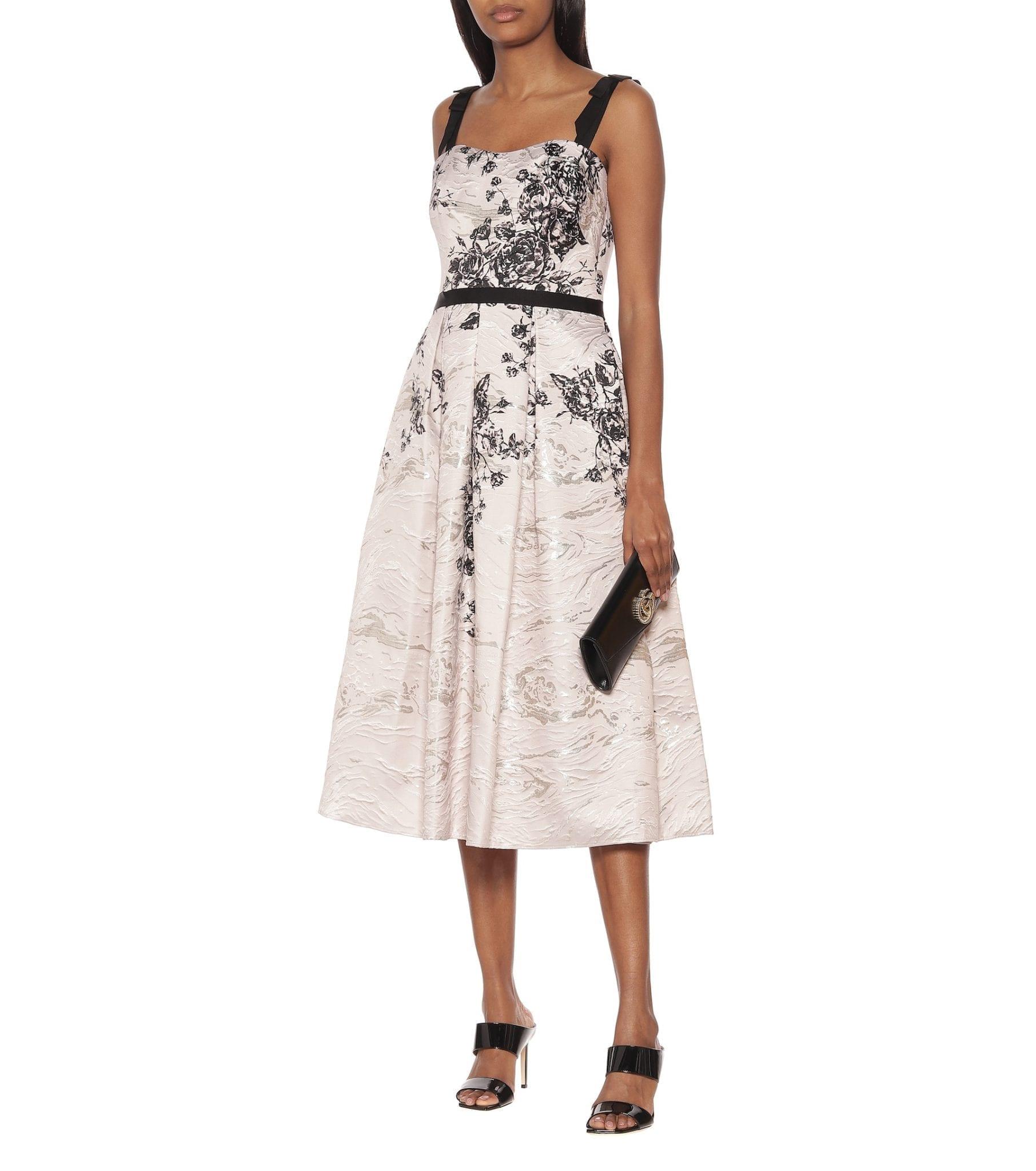 MARCHESA NOTTE Floral Jacquard Dress
