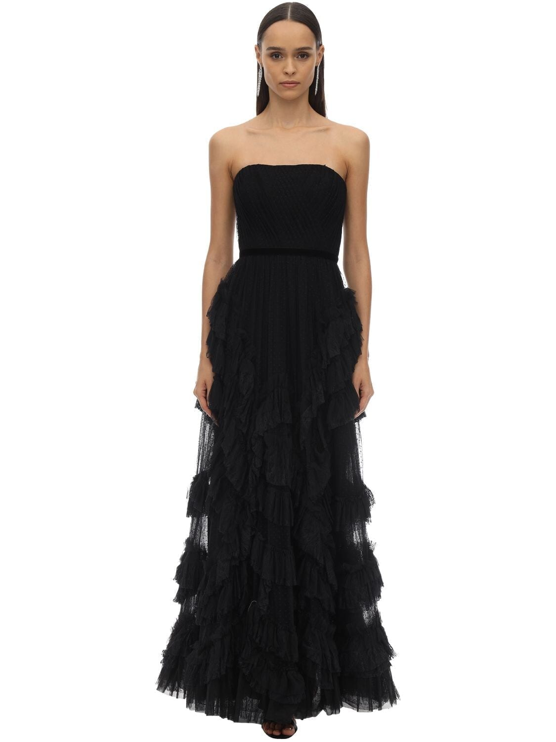 MARCHESA NOTTE Long Draped & Ruffles Tulle Dress