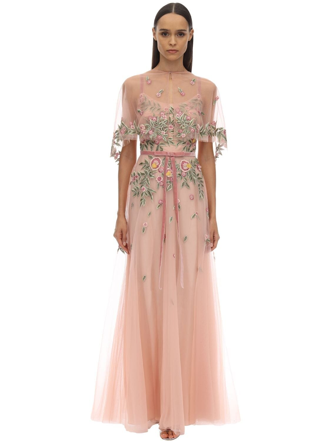 MARCHESA NOTTE Long Embroidered Tulle Cape Dress