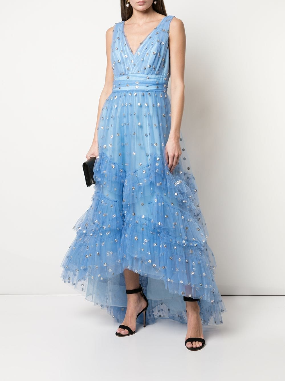 MARCHESA NOTTE Polka Dot Print Tulle Gown