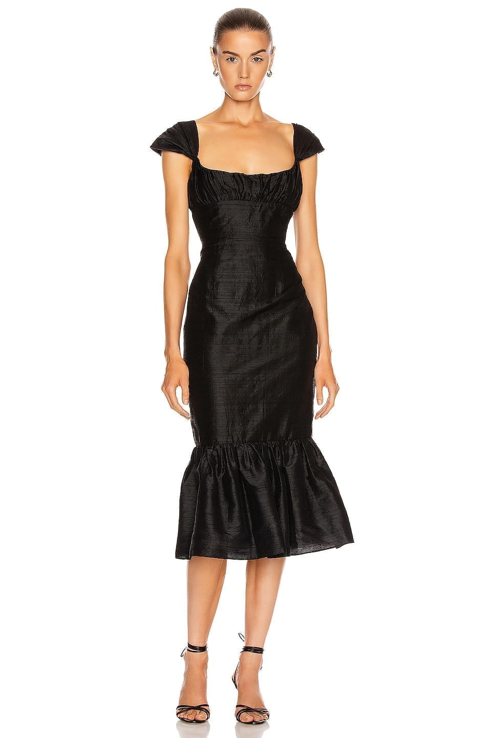 MARKARIAN Mondella Ruched Flounce Dress