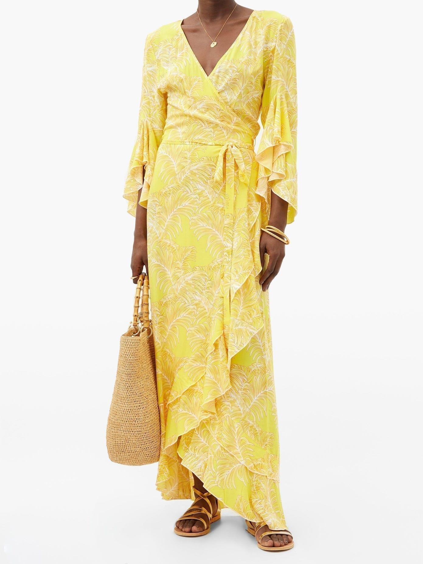 MELISSA ODABASH Cheryl Ruffled Leaf-Print Maxi Wrap Dress