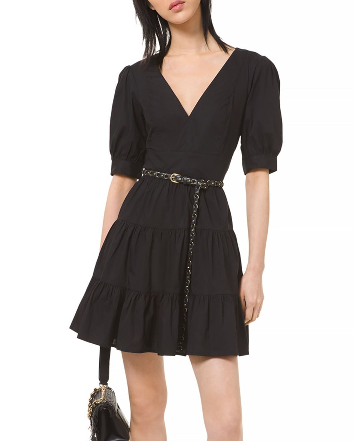 MICHAEL KORS Puff Sleeve Tiered Dress
