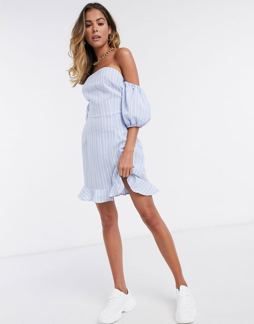 MISSGUIDED Off Shoulder Tie Back Detail Dress