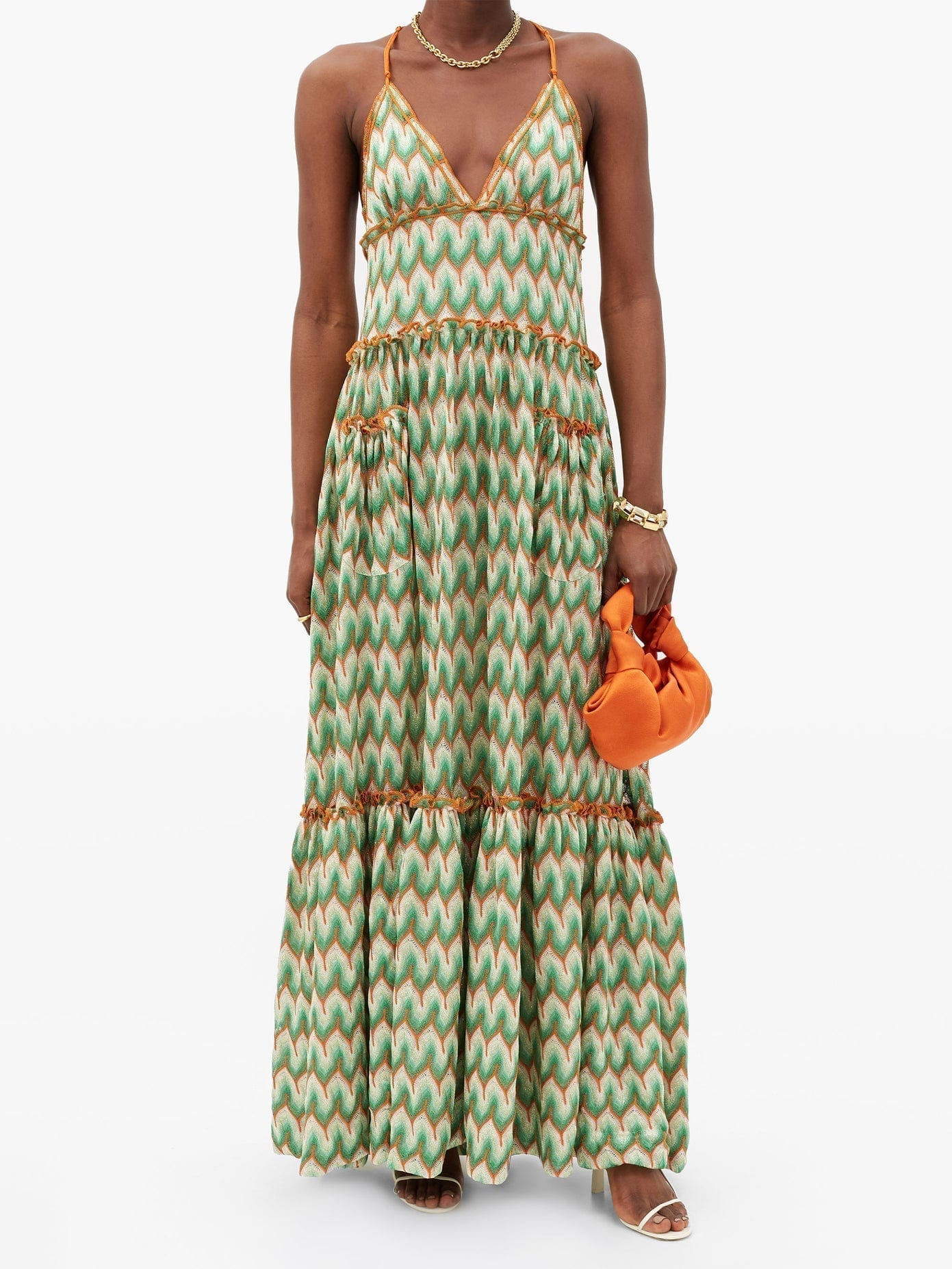 MISSONI Chevron-stripe Lace-knitted Maxi Dress
