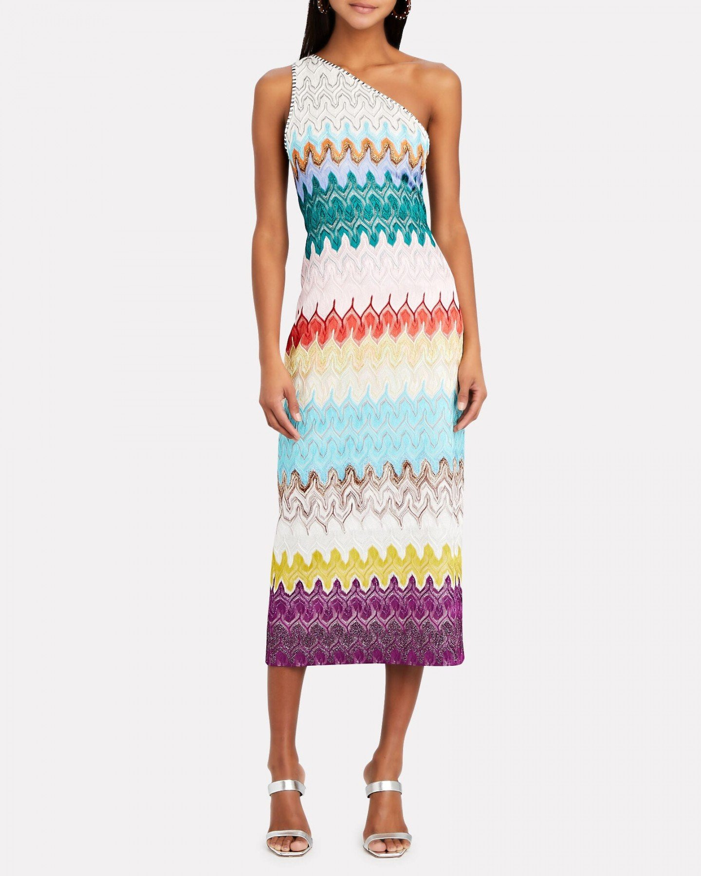 MISSONI One-Shoulder Rainbow Wave Midi Dress