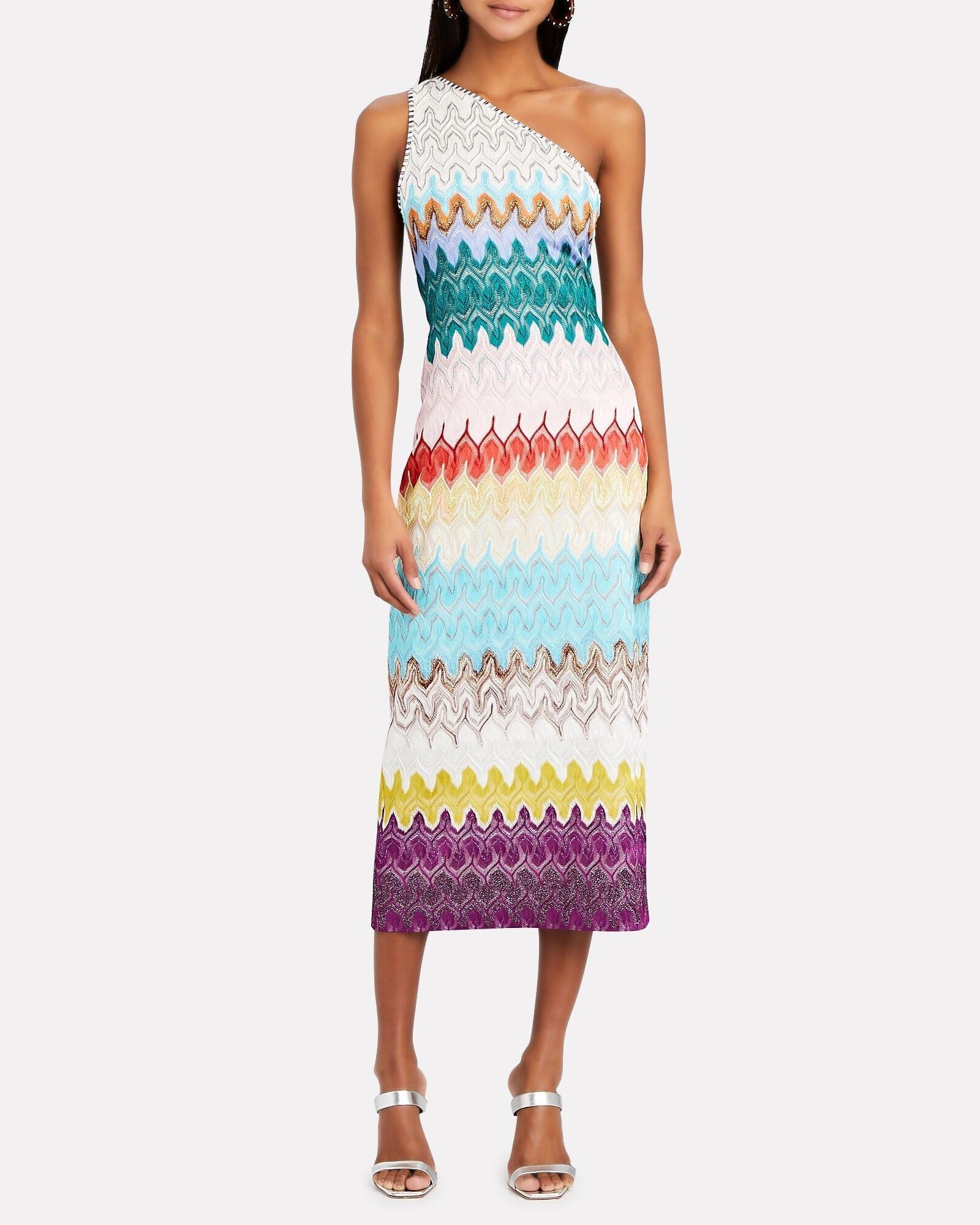MISSONI One-Shoulder Rainbow Wave Midi Dress