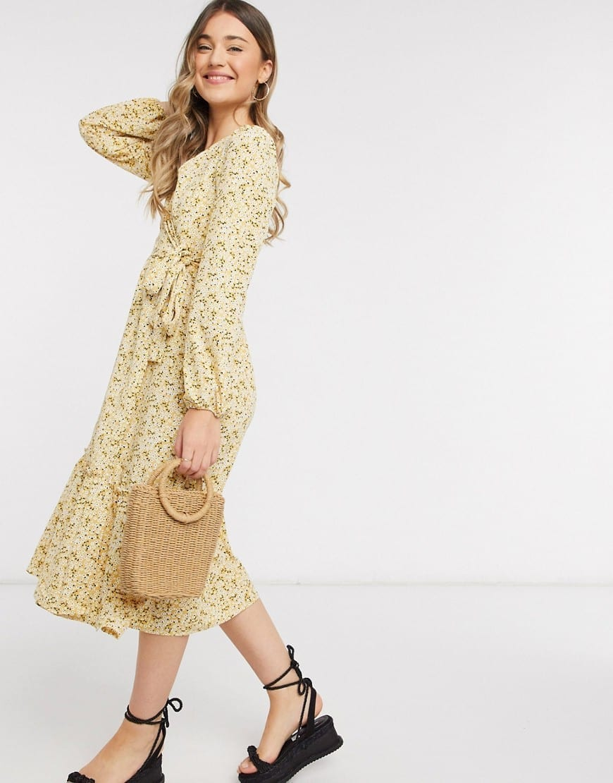 MONKI Martina Ditsy Floral Wrap Midi Dress