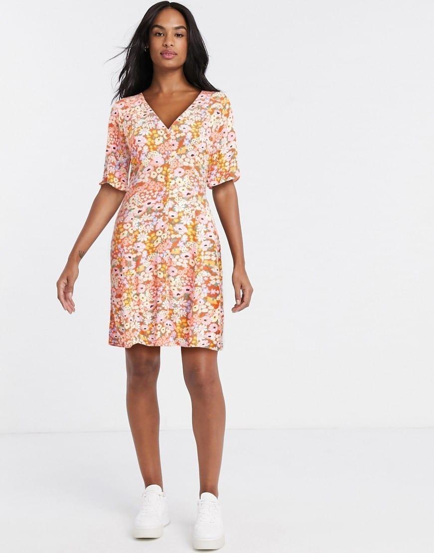 MONKI Winona Floral Print Mini Dress