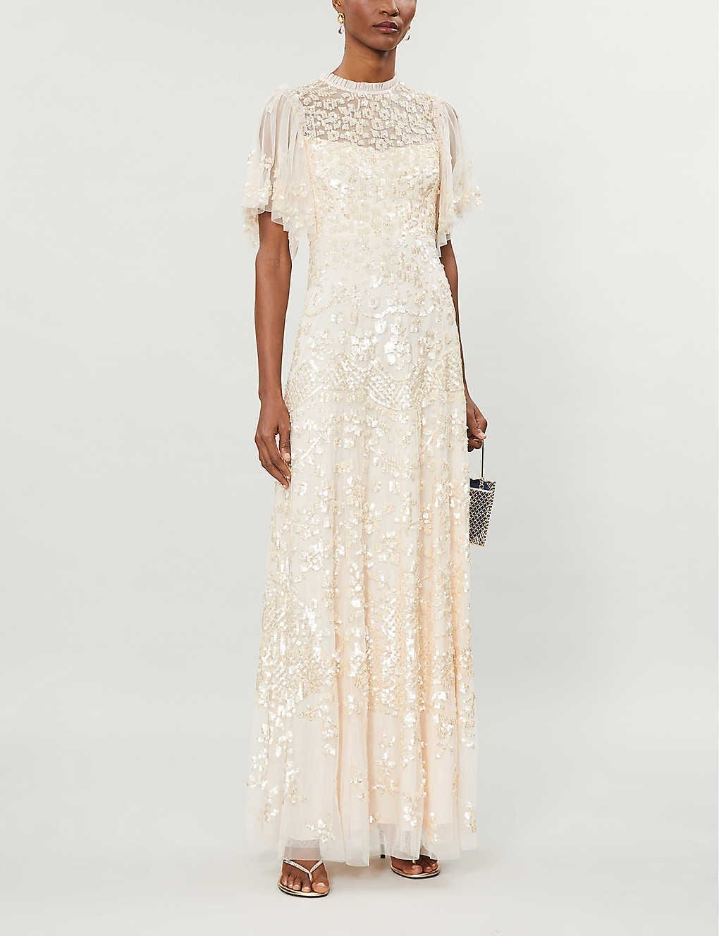 NEEDLE AND THREAD Honesty Embellished Mesh Gown