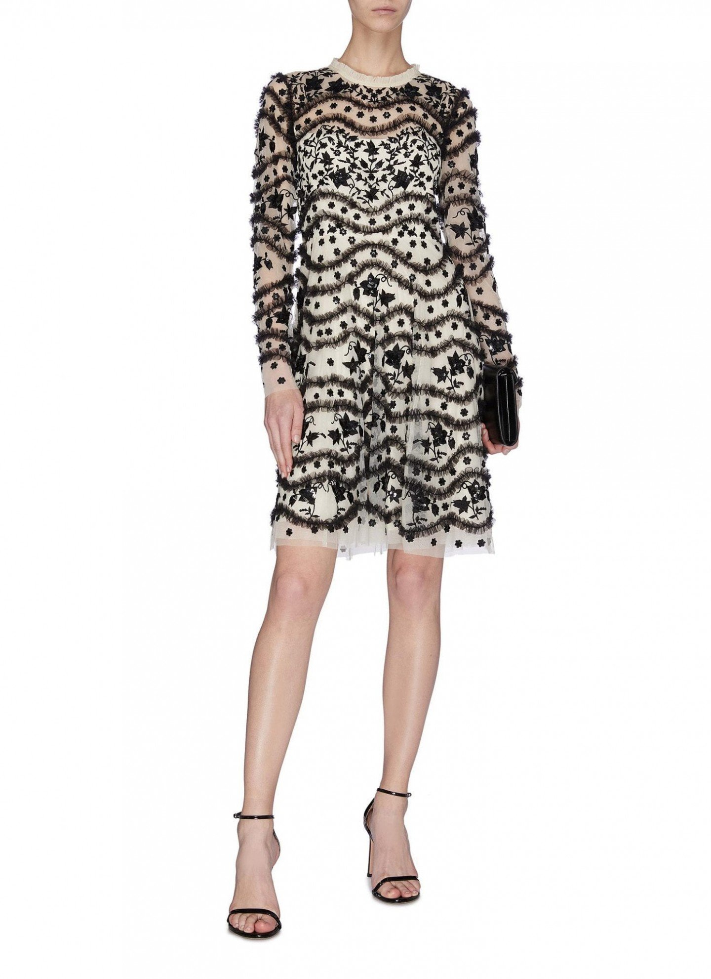 NEEDLE & THREAD 'Bloom' Sequin Embroidered Ruffle Dress