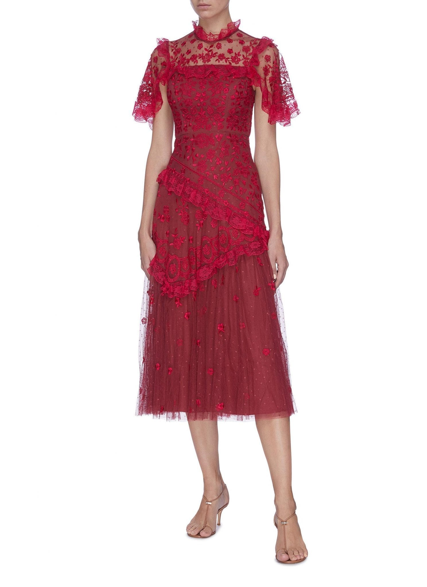 NEEDLE & THREAD 'Elsa Ballerina' Floral Embroidered Lace Trim Ruffle Tiered Tulle Midi Dress