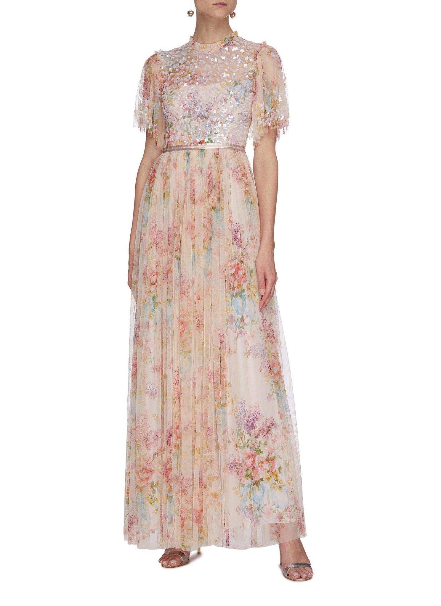 NEEDLE & THREAD 'Floral Diamond' Bodice Short Sleeve Maxi Dress
