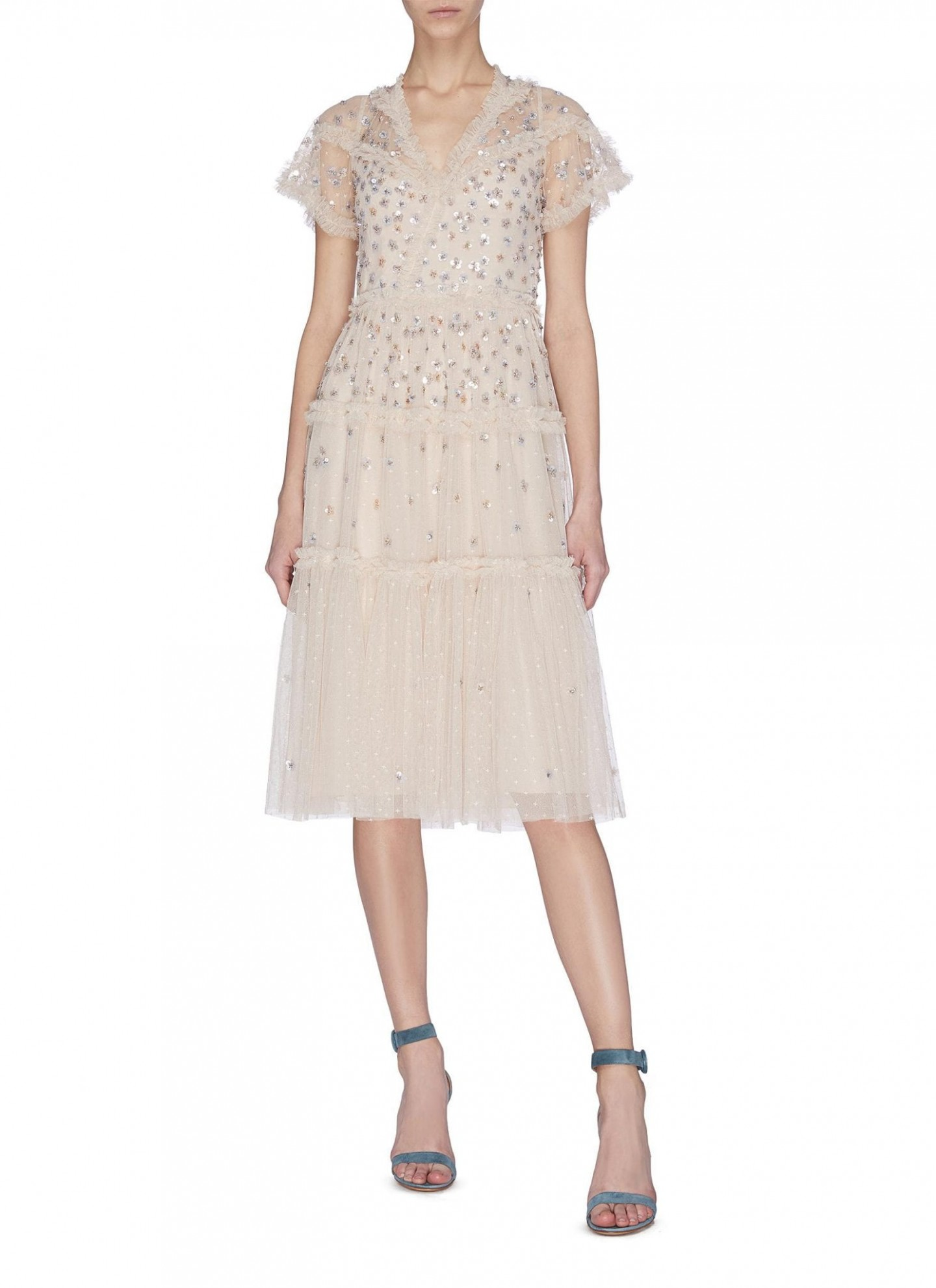 NEEDLE & THREAD 'Glimmer' Sequin Embroidered Ruffle Dress