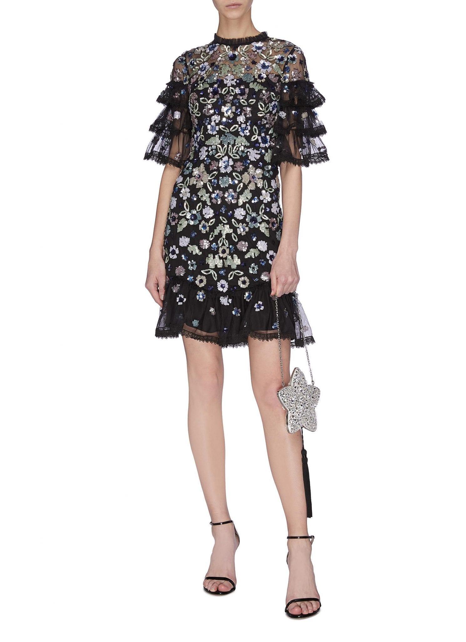 NEEDLE & THREAD 'Meadow' Sequin Embroidered Ruffle Mini Dress
