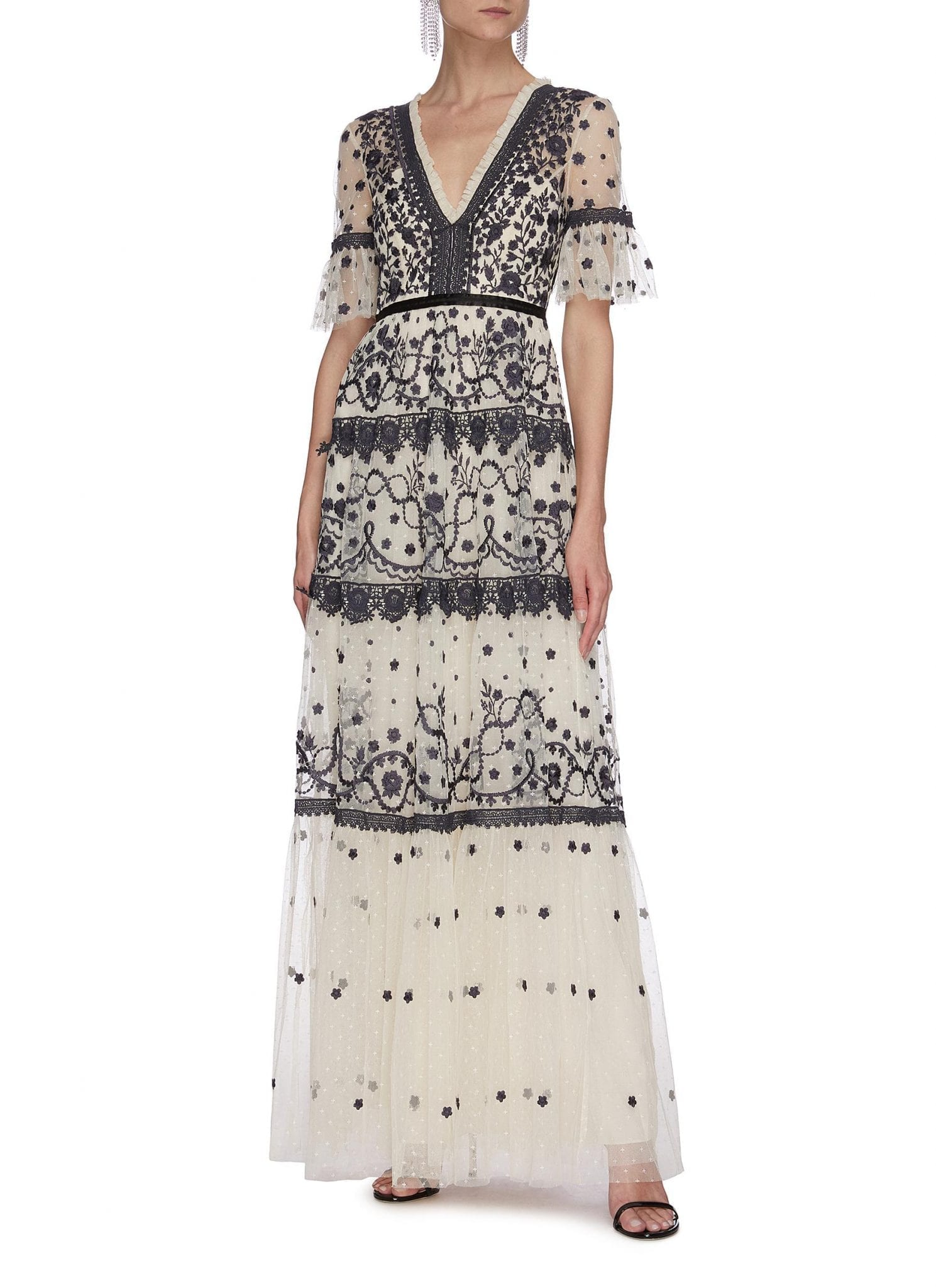NEEDLE & THREAD 'Midsummer' Lace Trim Floral Embroidered Short Sleeve Gown