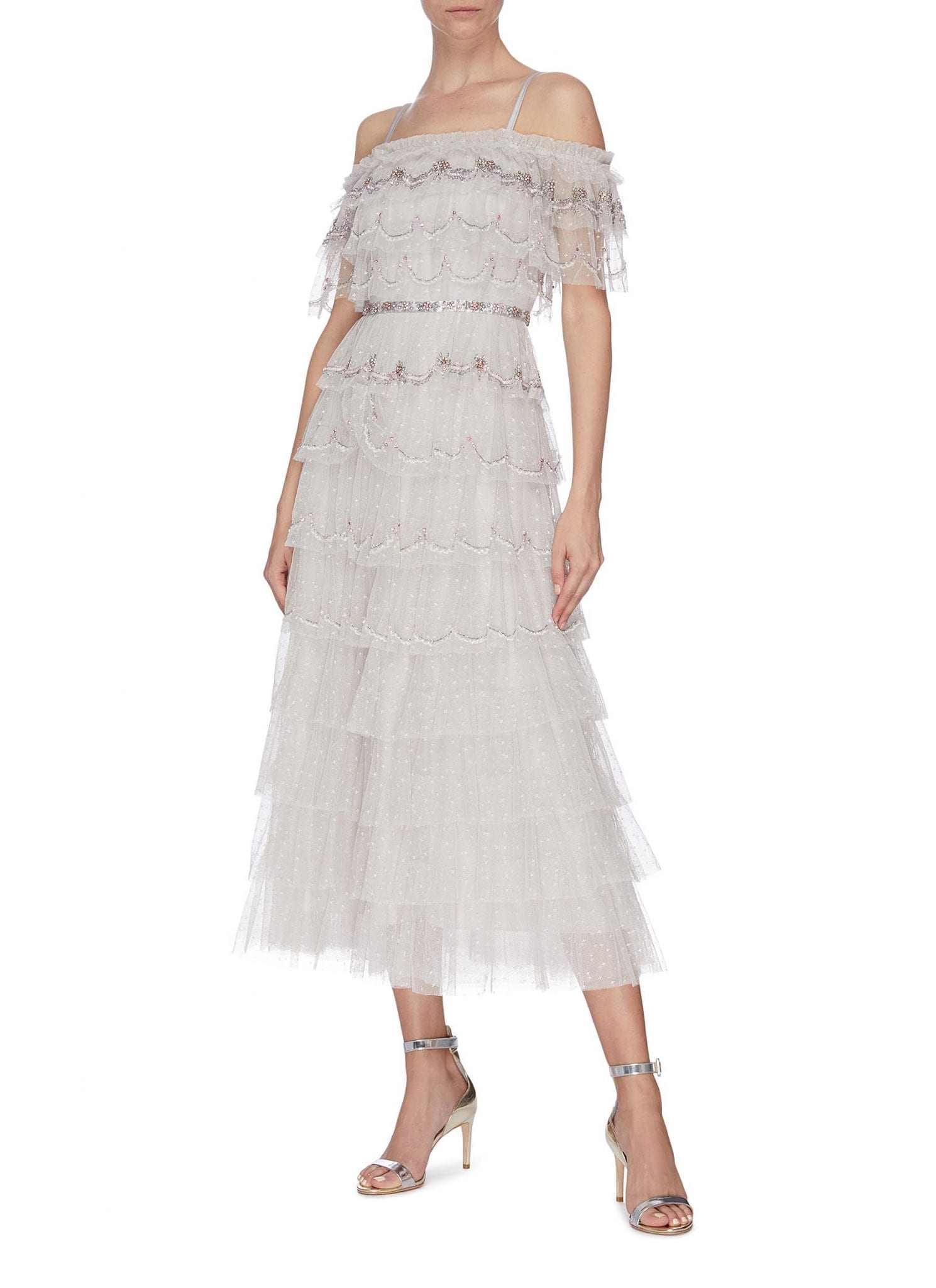 NEEDLE & THREAD Off Shoulder Ruffled Embroidered Ballerina Dress
