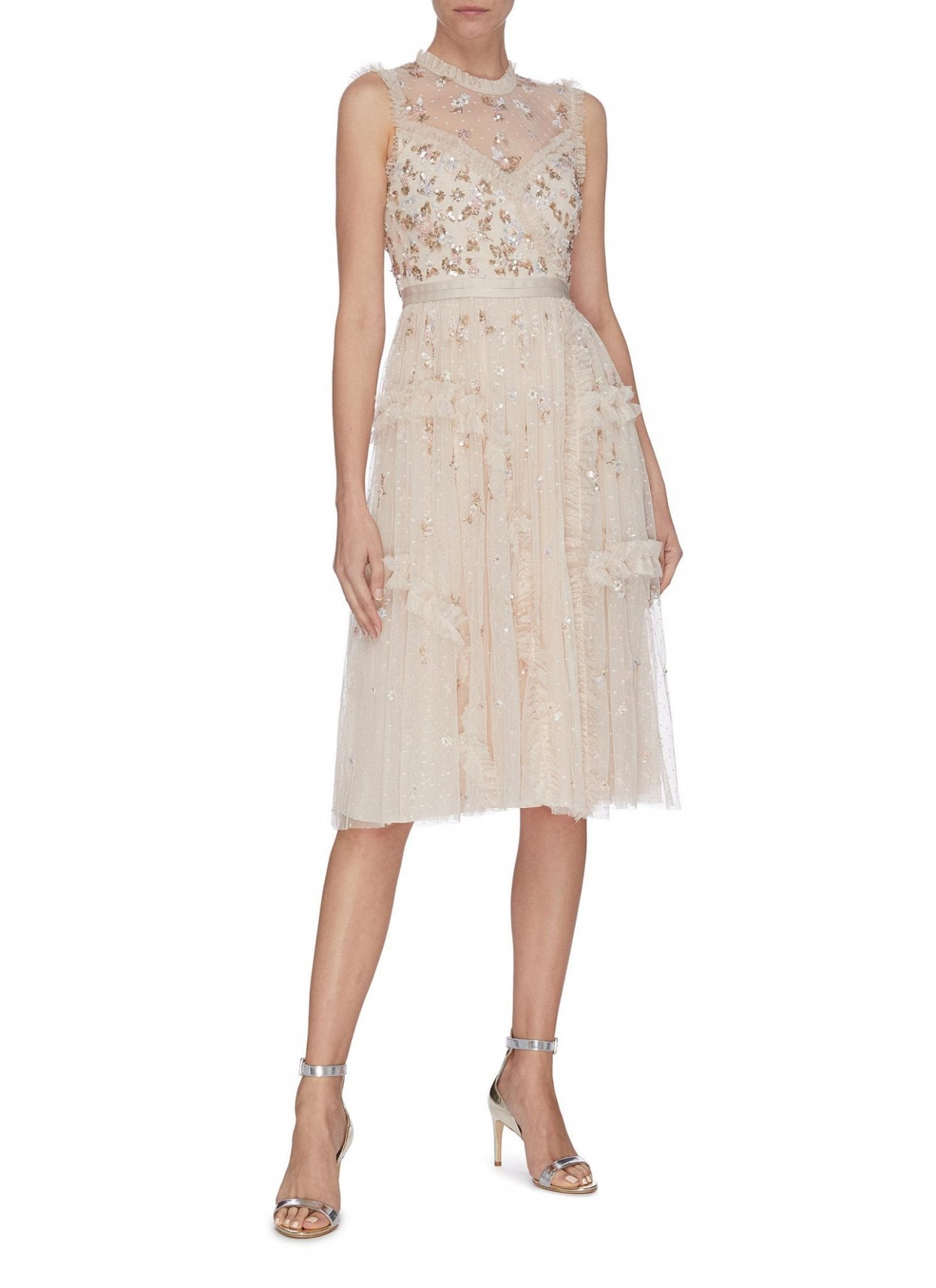NEEDLE & THREAD Sequin Embroidered Floral Sheer Tulle Dress