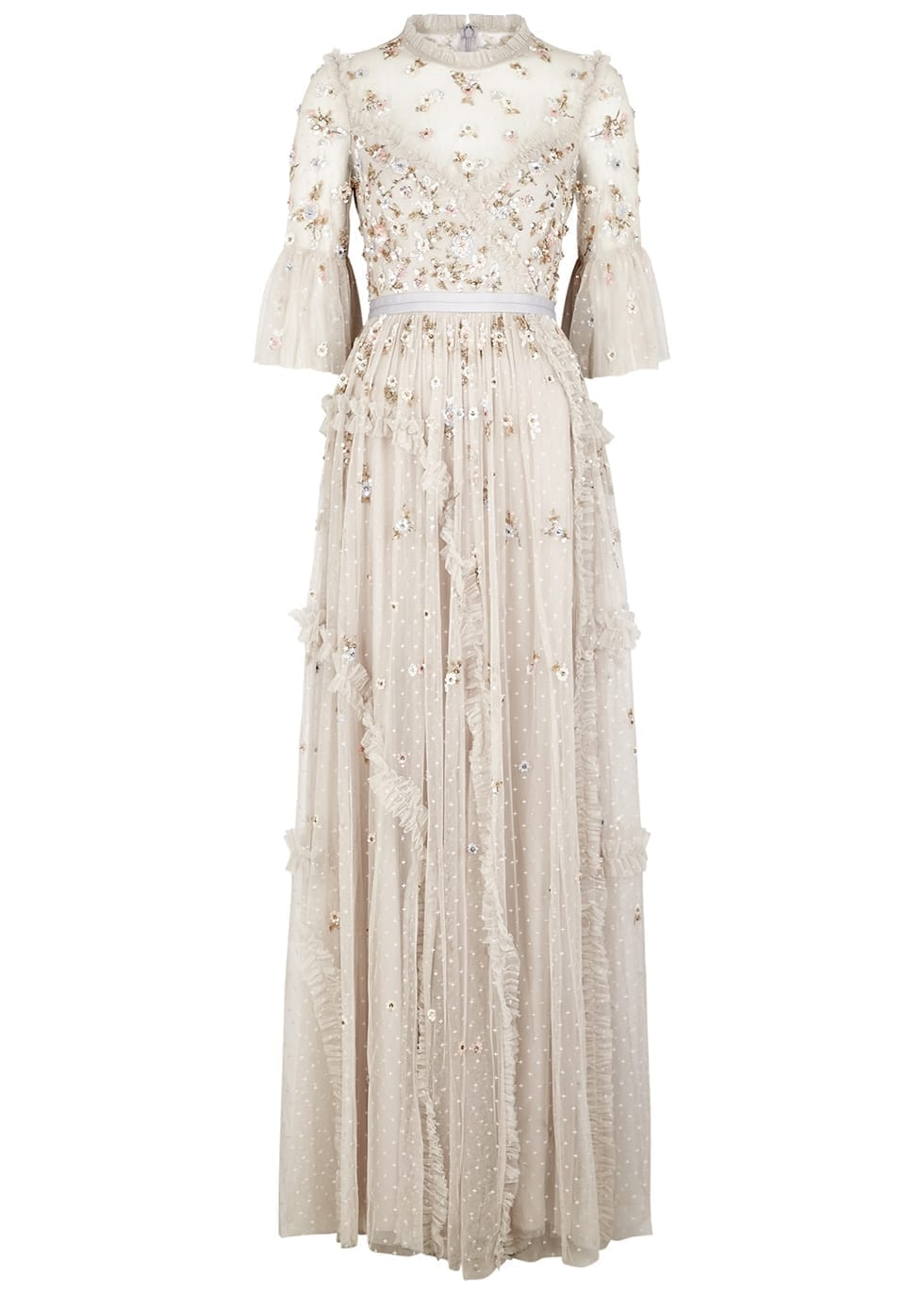 NEEDLE & THREAD Shimmer Ditsy Grey Embellished Tulle Gown