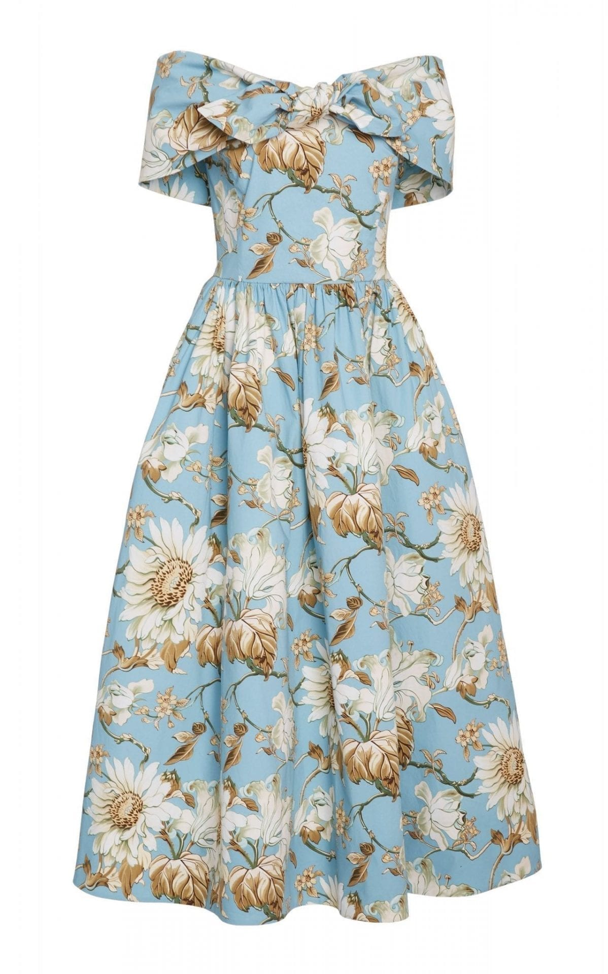 OSCAR DE LA RENTA Bow-Accented Floral-Print Stretch-Cotton Dress
