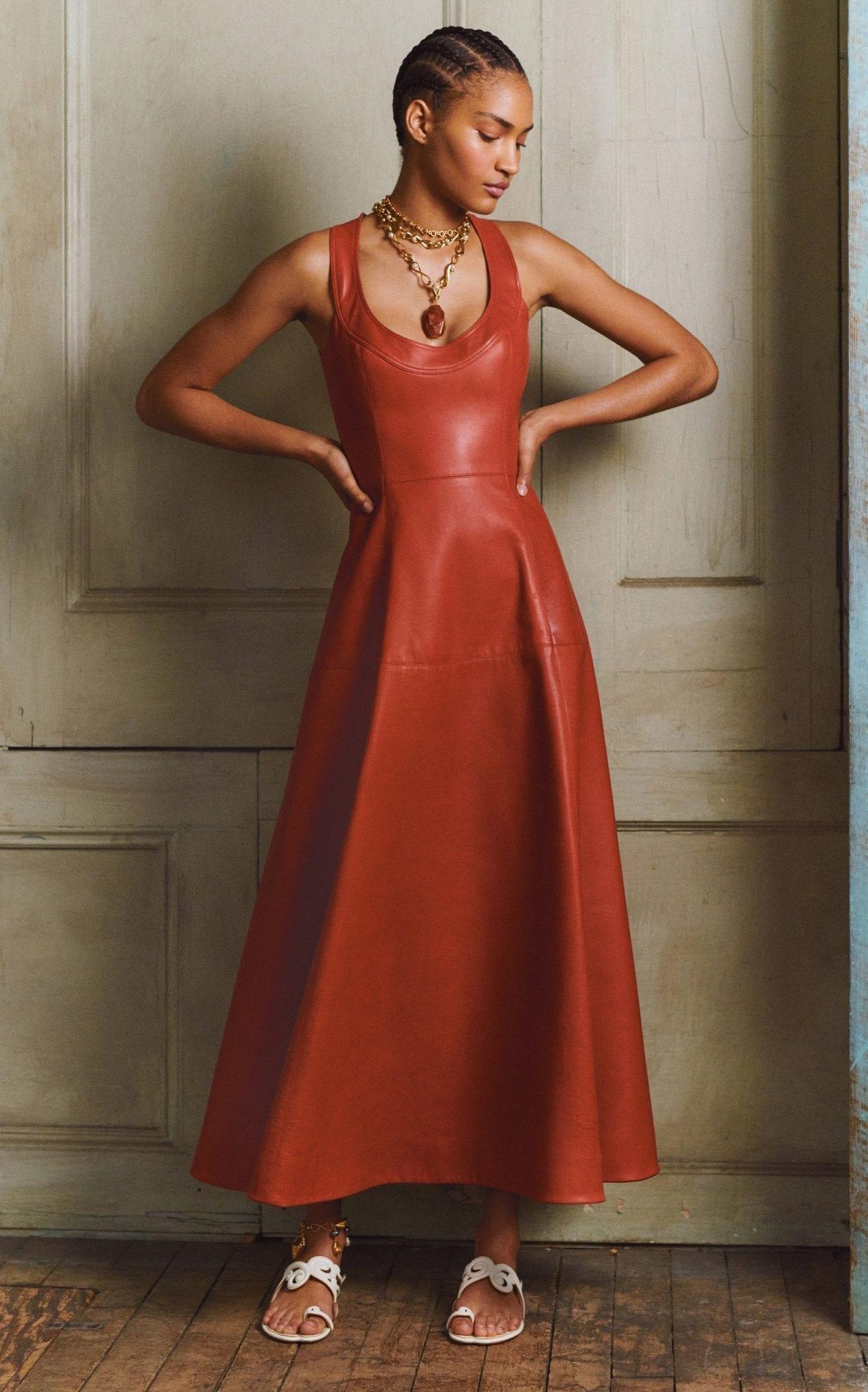 OSCAR DE LA RENTA Leather A-Line Midi Dress