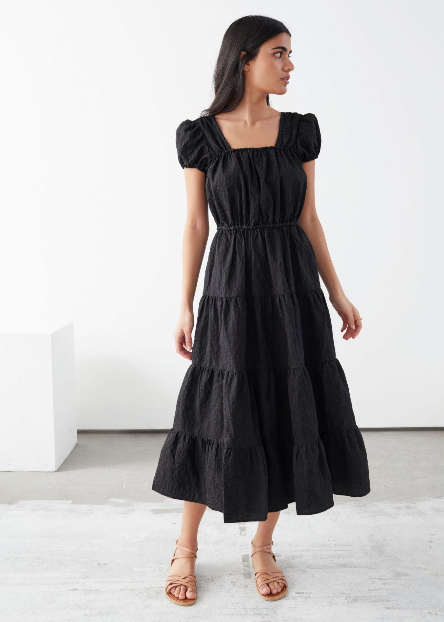 & OTHER STORIES A-Line Jacquard Ruffle Midi Dress