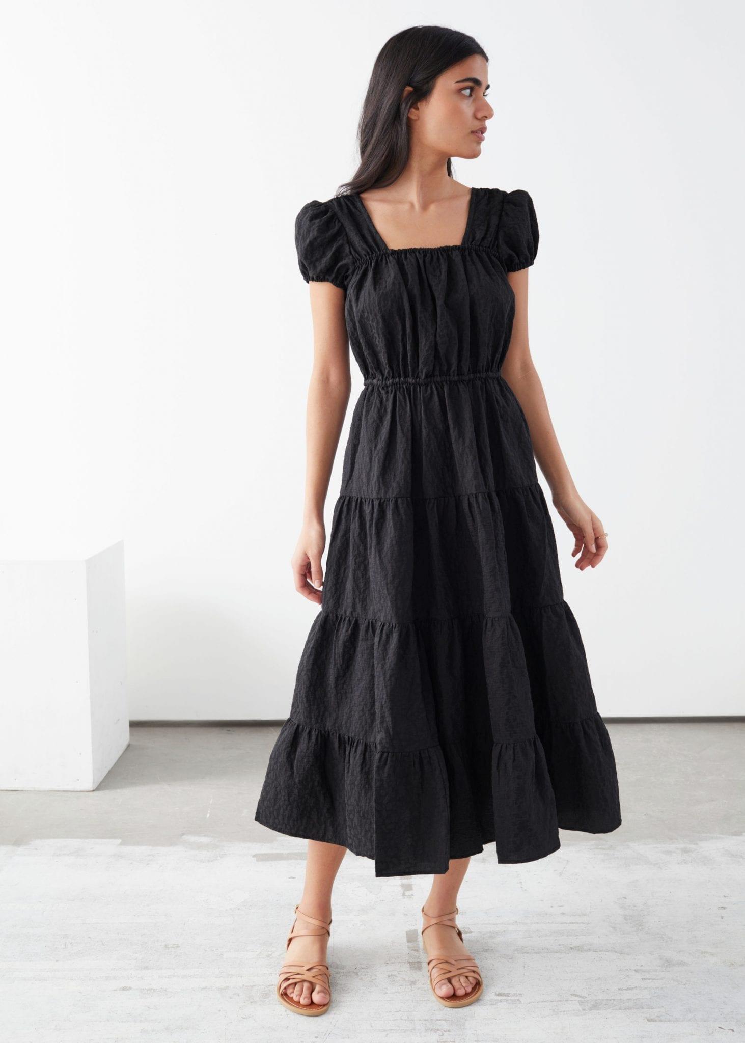 & OTHER STORIES A-Line Jacquard Ruffle Midi Dress