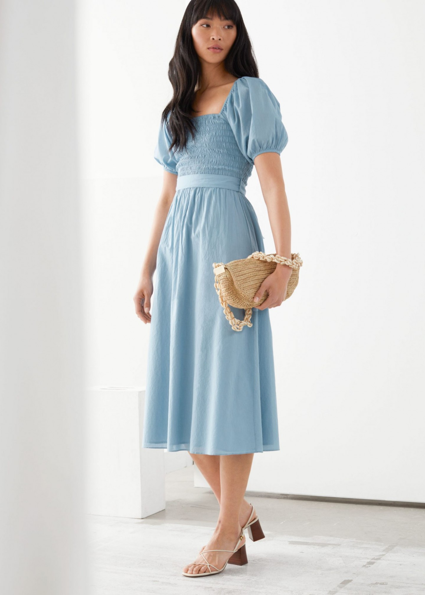 & OTHER STORIES Belted Puff Sleeve Midi Dress