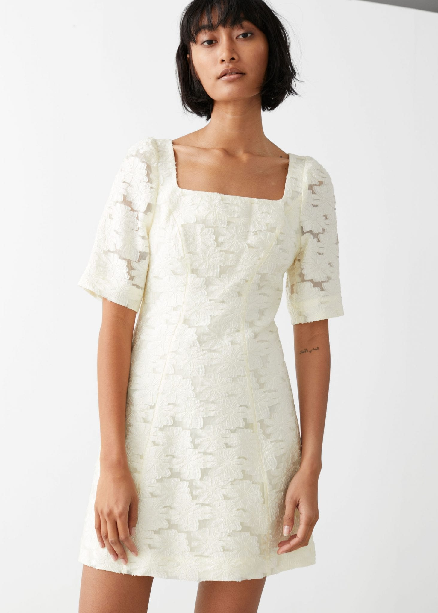 & OTHER STORIES Flower Jacquard Mini Dress