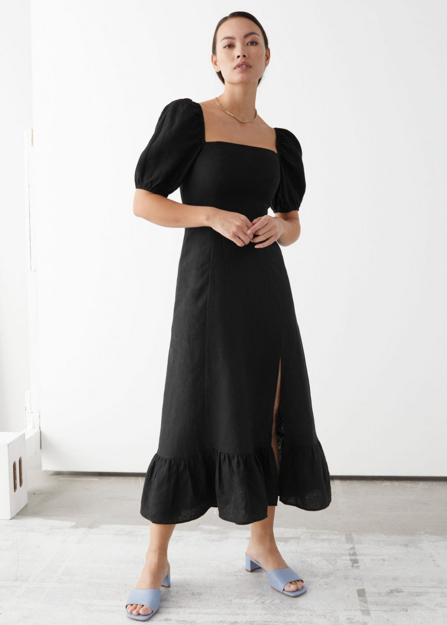 & OTHER STORIES Linen Puff Sleeve Midi Dress