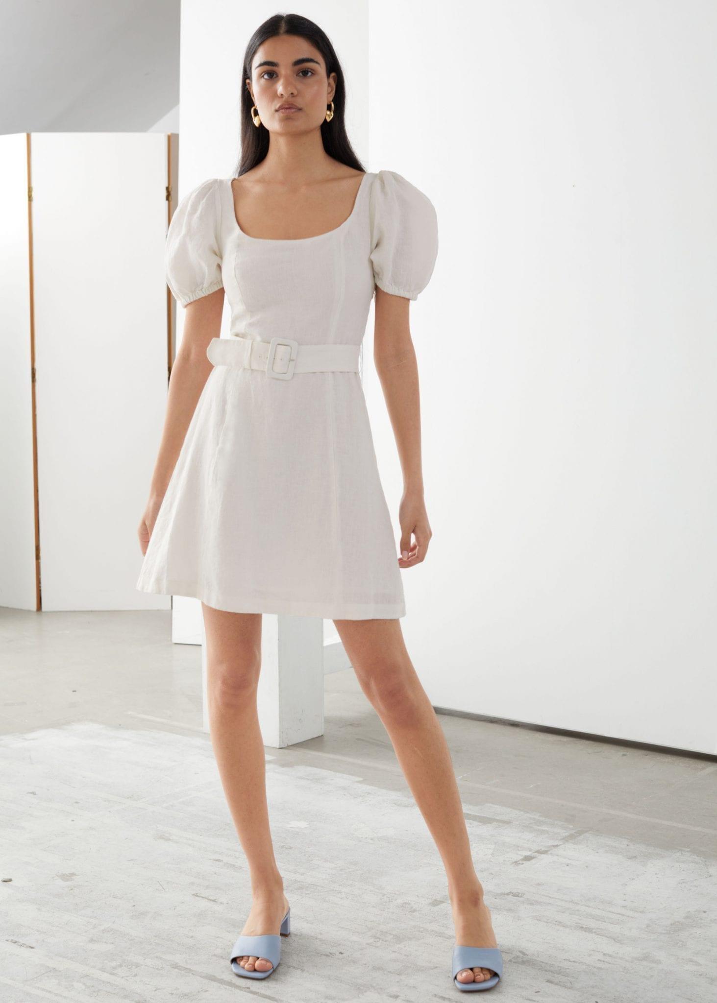 & OTHER STORIES Linen Puff Sleeve Mini Dress