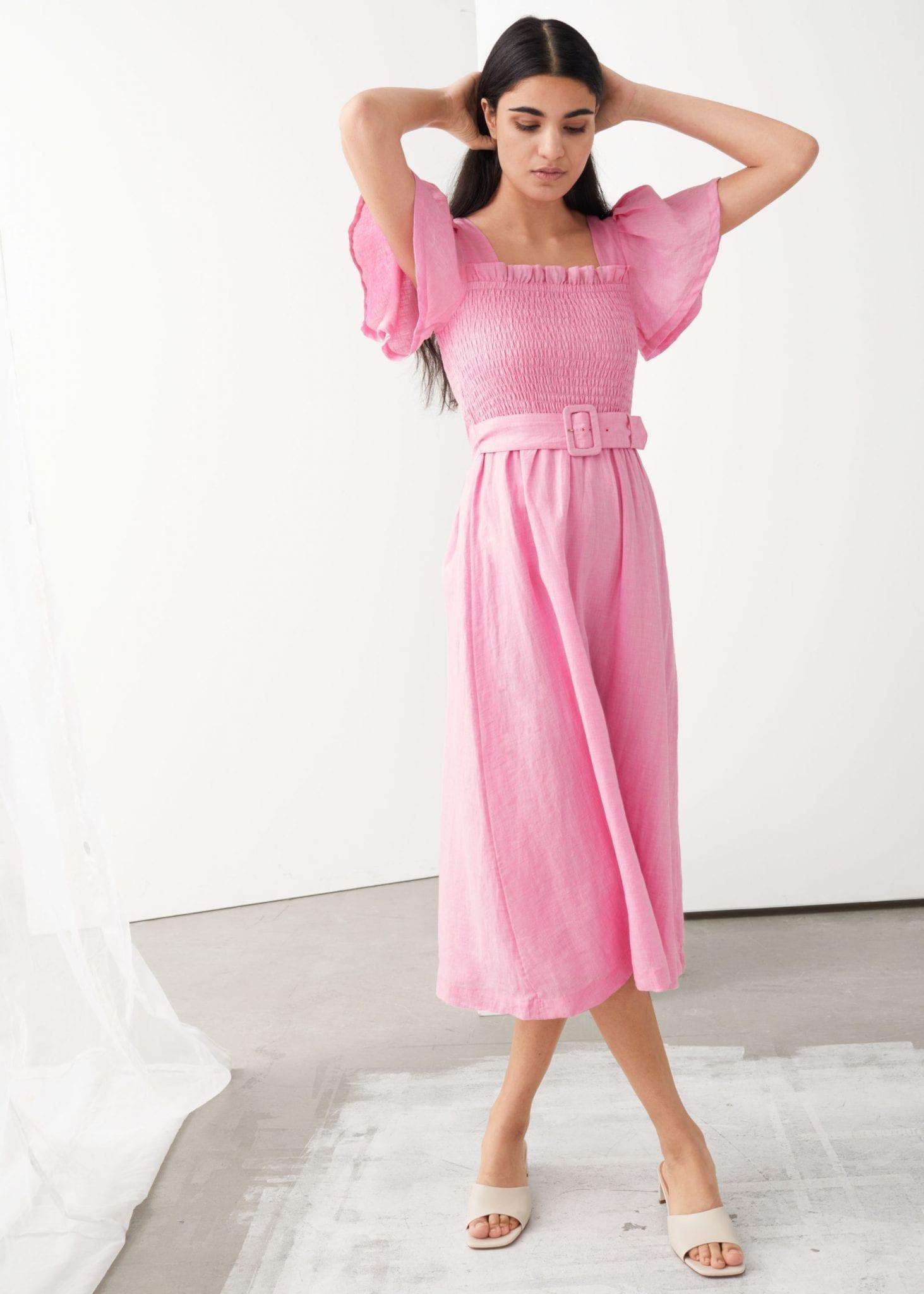 & OTHER STORIES Linen Smock Midi Dress