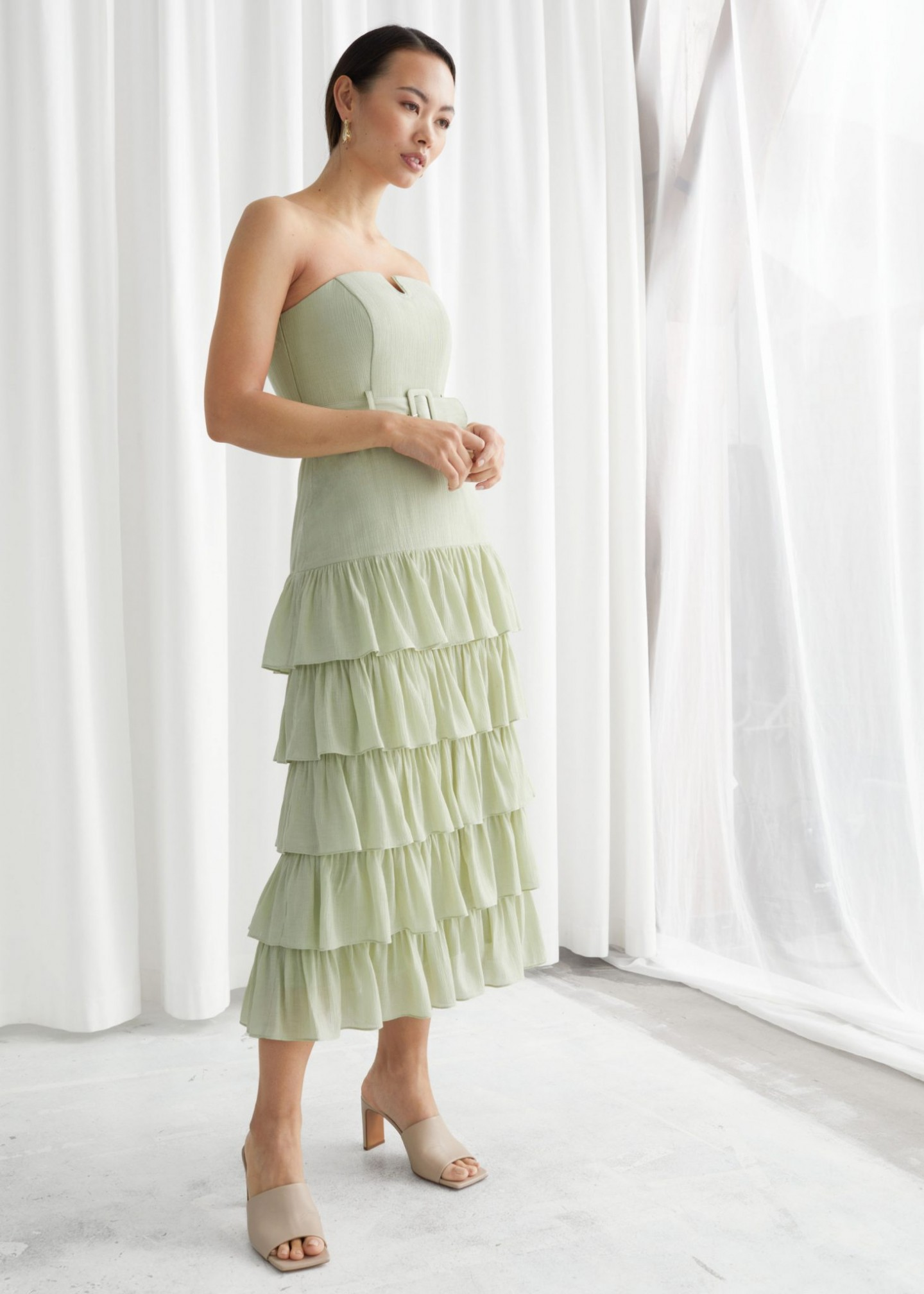 & OTHER STORIES Ruffled Strapless Midi Dress