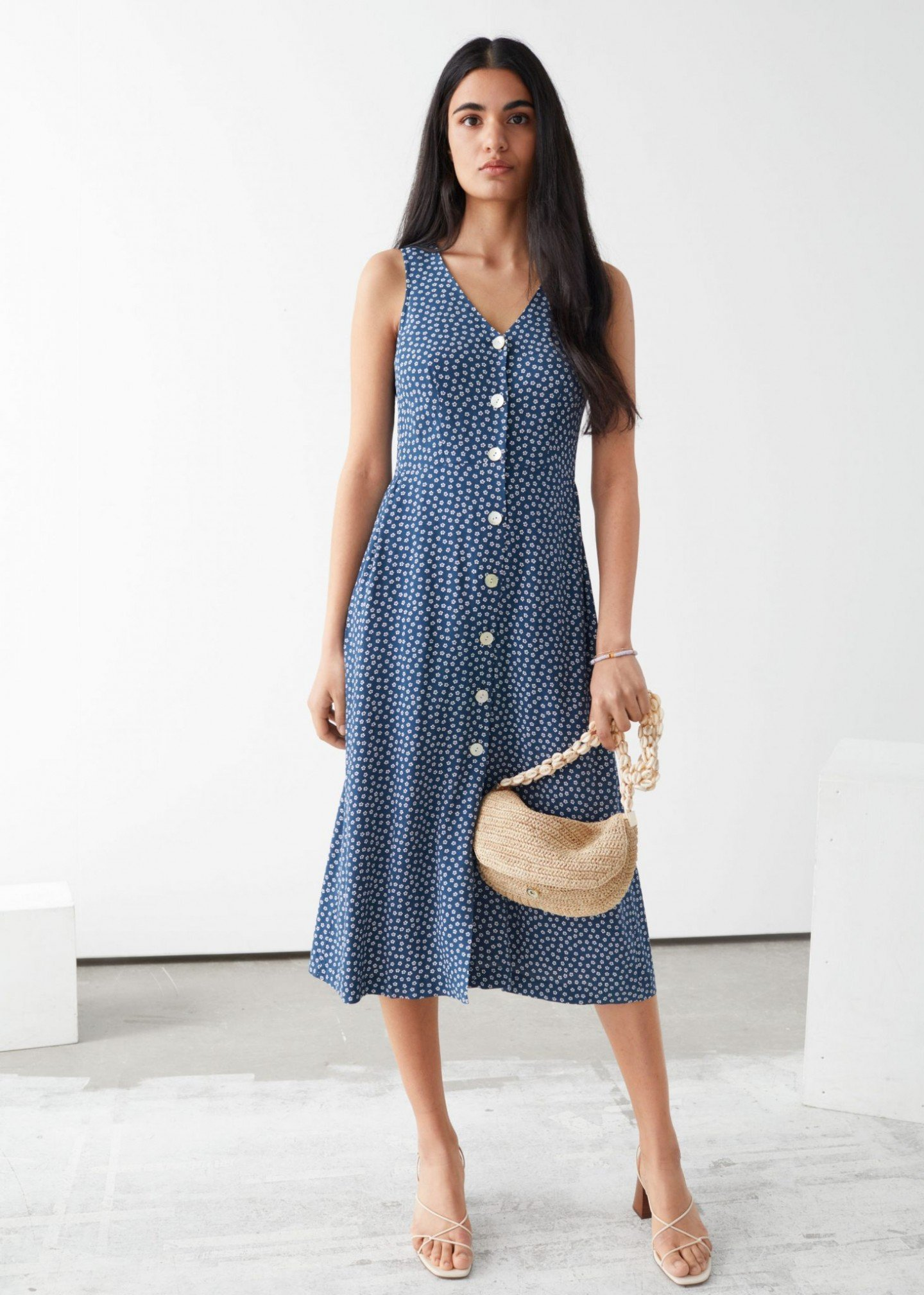 & OTHER STORIES Sleeveless Button Up Midi Dress