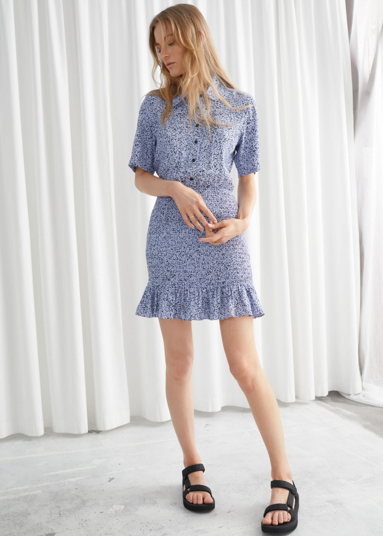 & OTHER STORIES Smocked Mini Shirt Dress