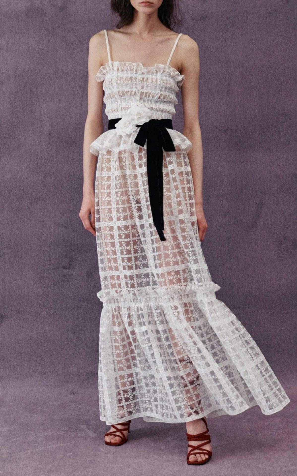 PHILOSOPHY DI LORENZO SERAFINI Lace-Trimmed Shirred Tulle Peplum Maxi Dress