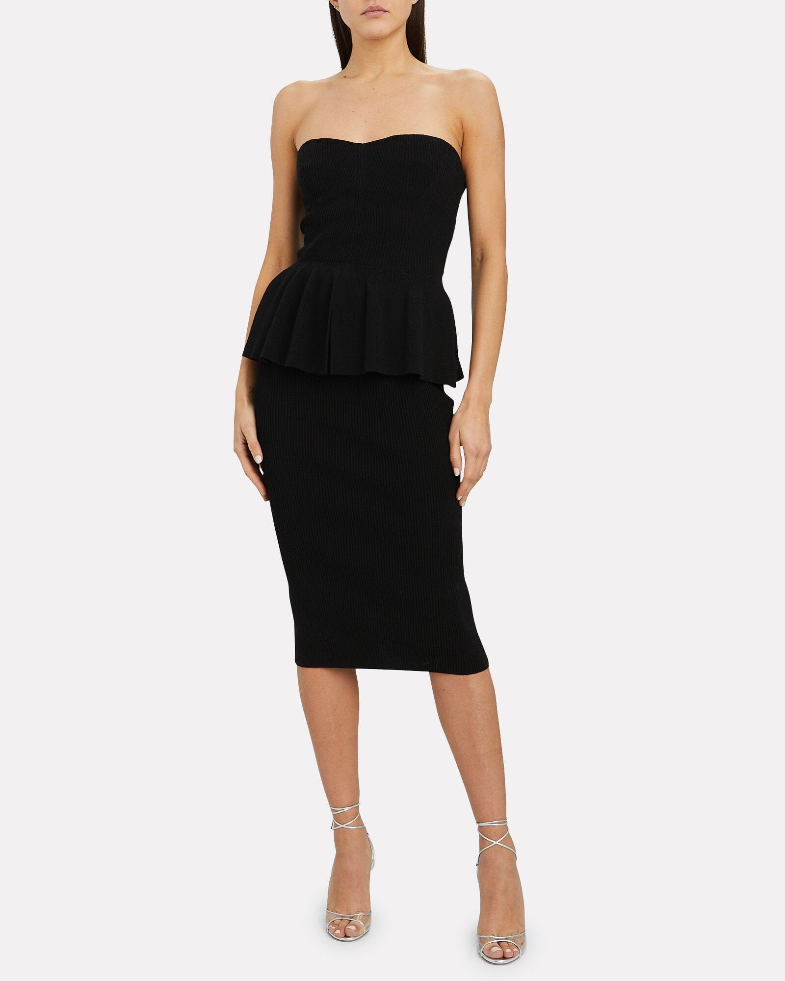 PHILOSOPHY DI LORENZO SERAFINI Strapless Peplum Knit Dress