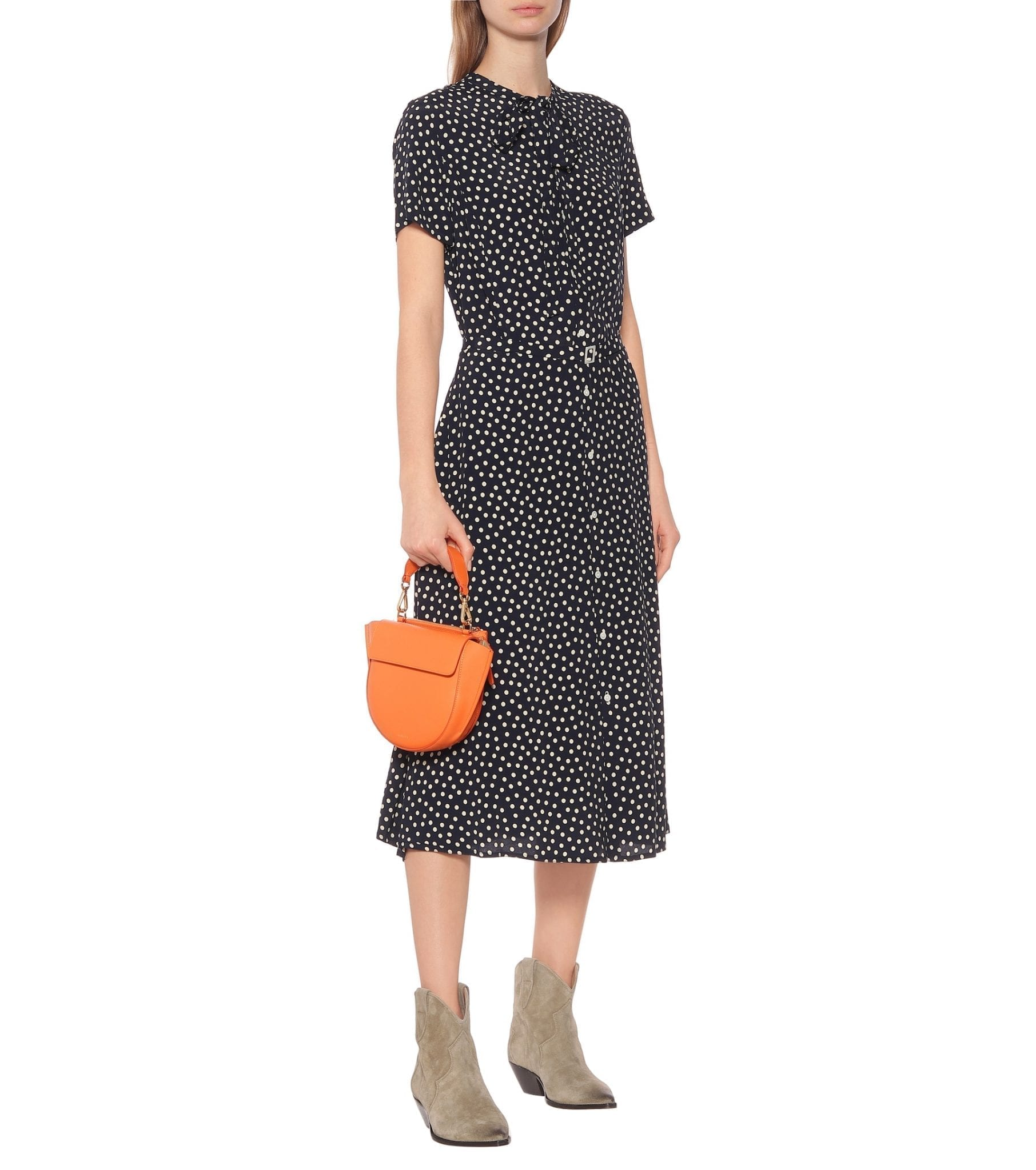 POLO RALPH LAUREN Polka-dot Midi Shirt Dress