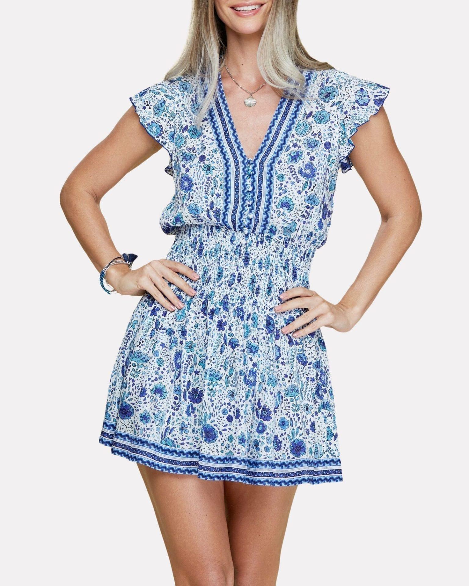 POUPETTE ST BARTH Rachel Floral Smocked Mini Dress